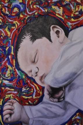 Dipinto su Commissione di un Neonato che dorme