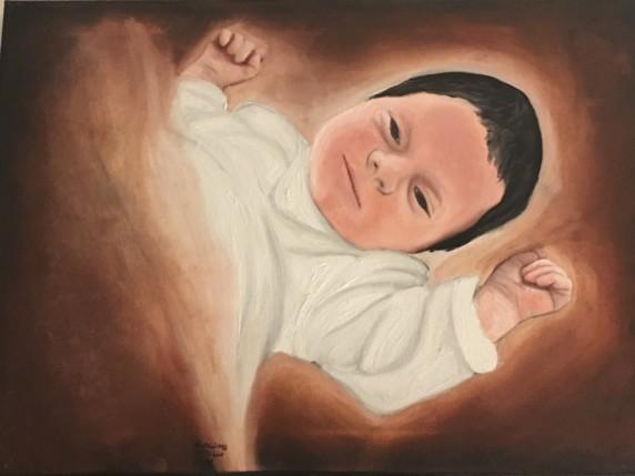 Ritratto ad Olio di un neonato su Commissione